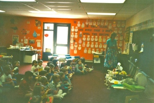 "Edie teaching Kindergarten Class during ""The Caring Children's Program"""